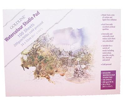 Goldline Watercolour Studio Pad 200gsm 100 sheets 24x32cm